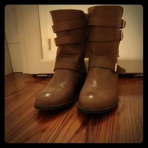 Taupe mid calf boots
